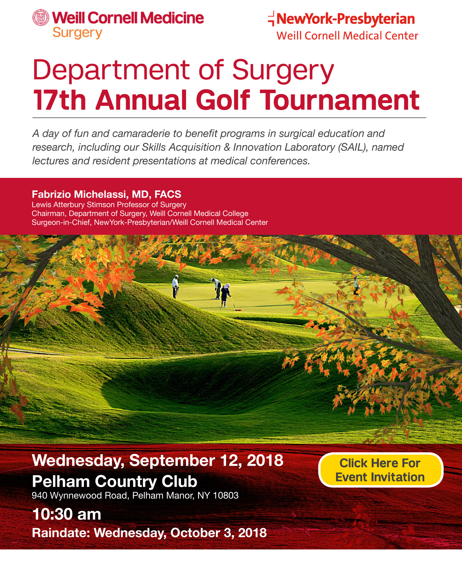 Join the Weill Cornell Department of Surgery on Wednesday, September 12, 2018 for our 17th Annual Golf Tournament